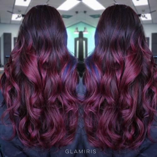 Long Burgundy Ombre Hair