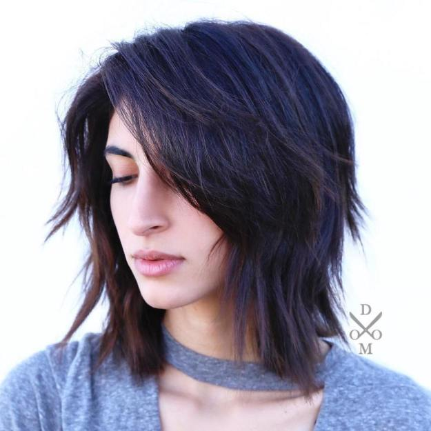 Edgy Side-Parted Haircut For Medium Hair