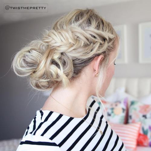 Messy Low Bun With A Side Fishtail