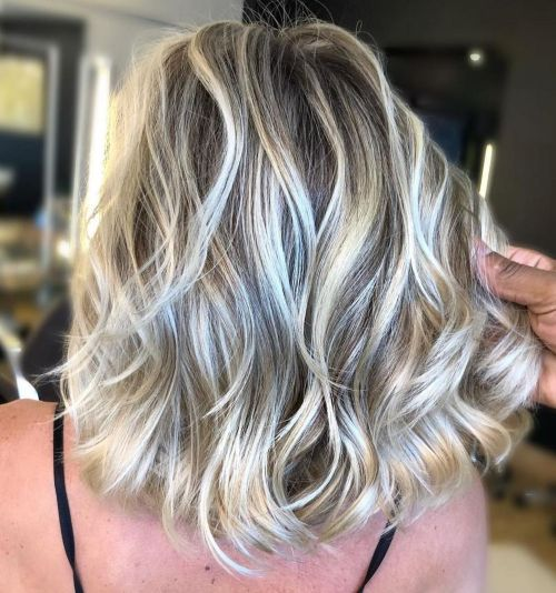 Ash Brown Wavy Lob With Blonde Highlights
