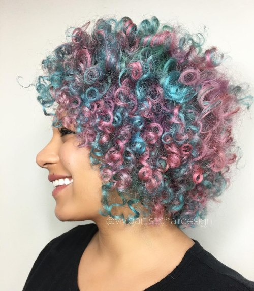 Short Curly Pastel Teal And Pink Hair