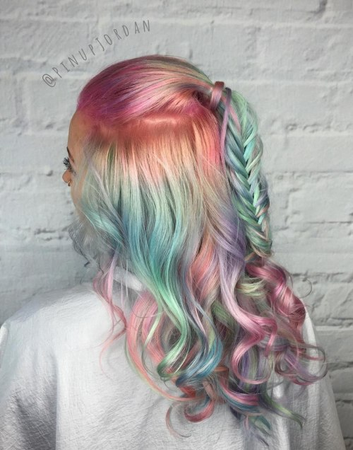 Half Updo For Pastel Teal And Pink Hair