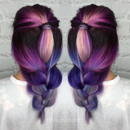 Purple To Blue Balayage Ombre