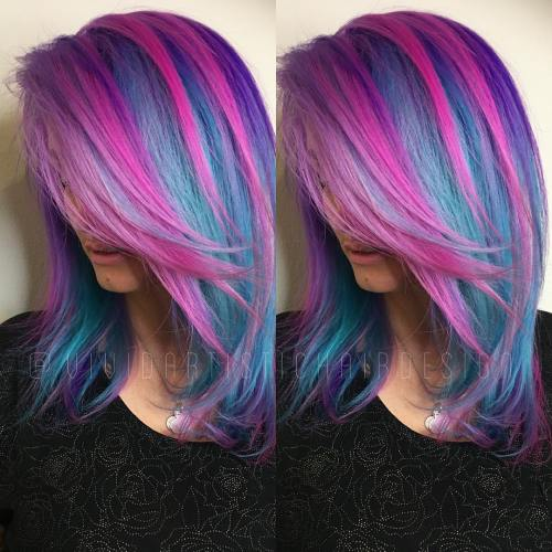 Teal Hair With Chunky Pink Highlights