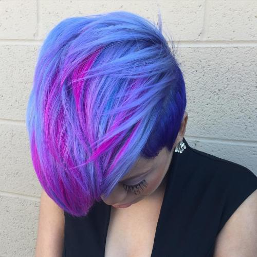 Pastel Blue Pixie With Pink Highlights