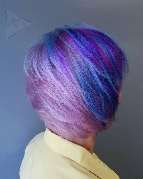 Pastel Purple Pixie Bob With Blue Highlights