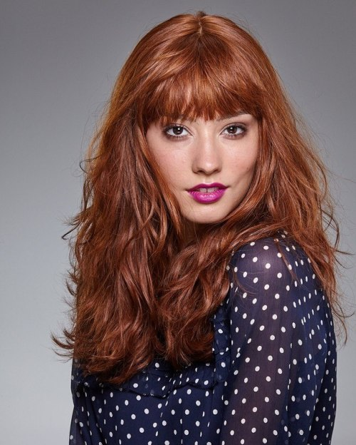 Long Red Wavy Hair With Bangs