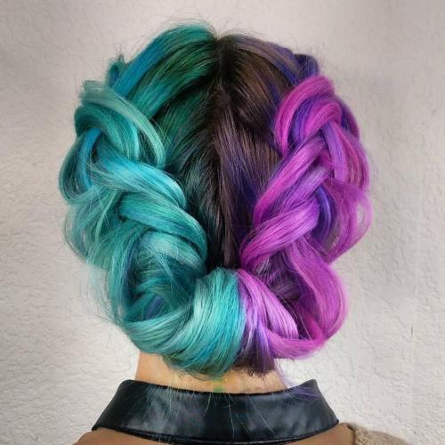Half Teal Half Purple Hair