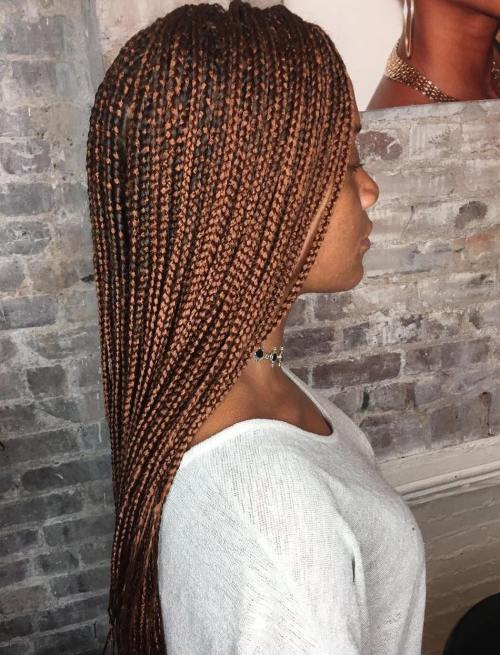 Long Golden Brown Micro Braids