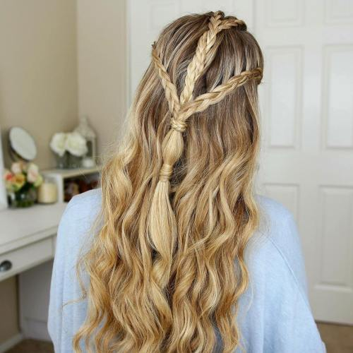 Long Triple-Braid Half Updo