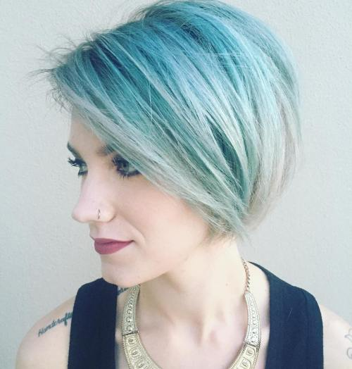 Short Mint And Silver Hair