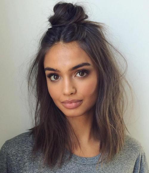 Messy Half Updo For Medium Hair