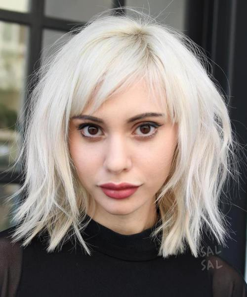 Platinum Choppy Bob With Bangs