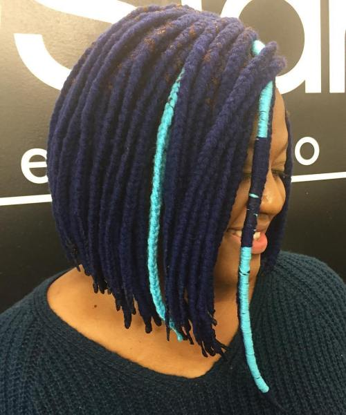 Blue Yarn Braids Bob