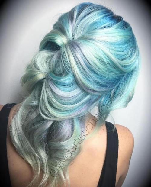 Pastel Blue Hair With Silver Balayage