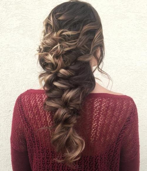 Curly Braid Downdo For Long Hair