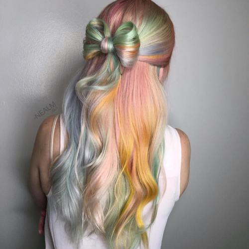 Half Up Bow Updo For Pastel Hair