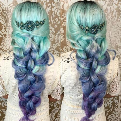 Long Mint Green To Pastel Purple Ombre