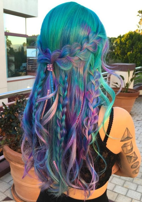 Turquoise Hair With Pink And Purple Highlights