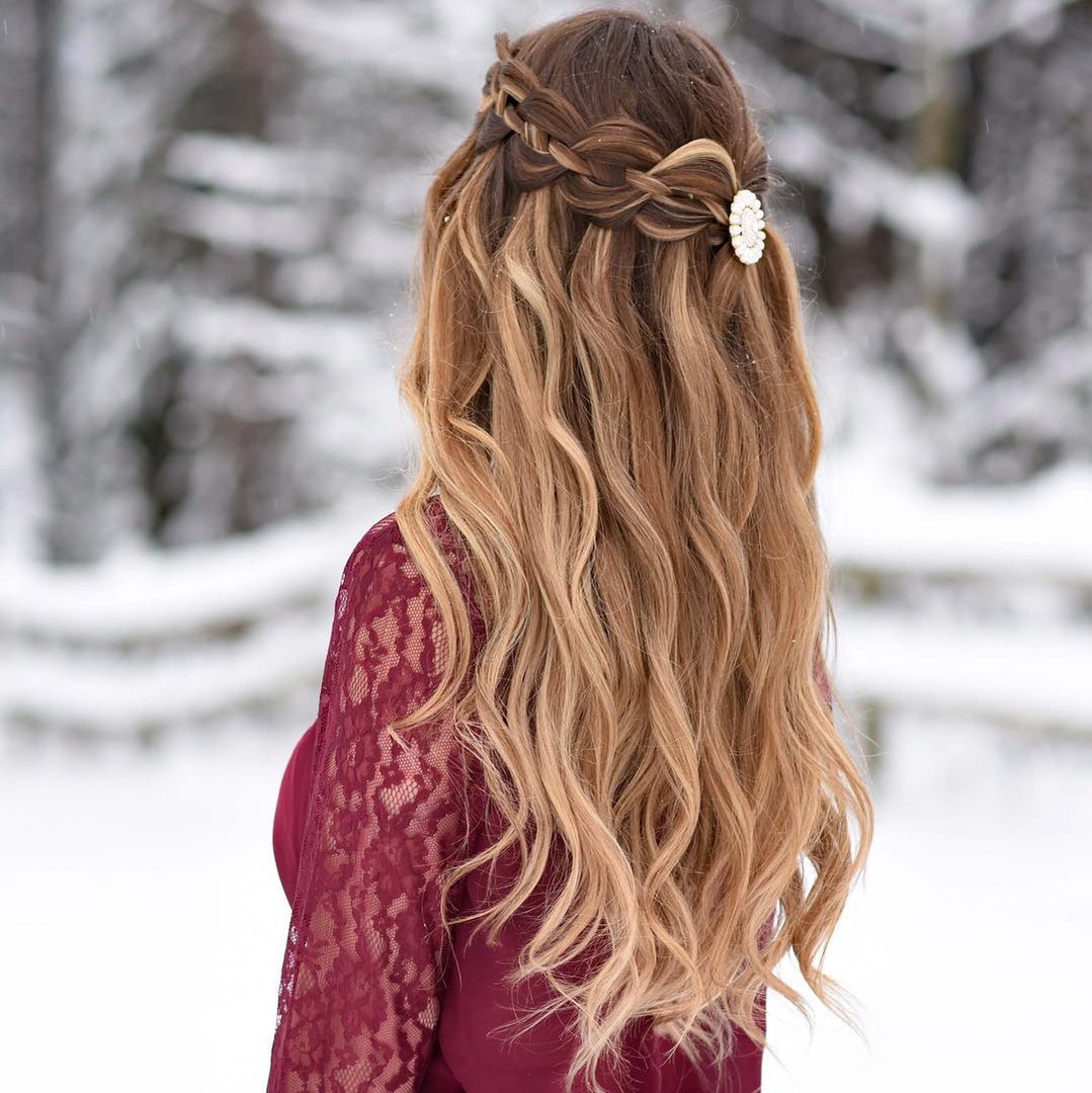 Waterfall Braid Half Updo