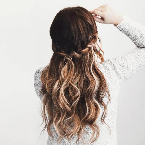 Wavy Half Updo With Twisted Crown