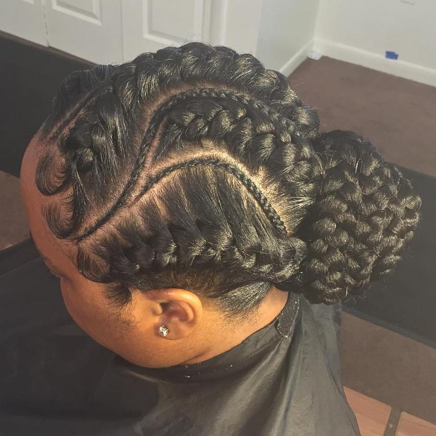 Thick And Thin Goddess Braids Updo