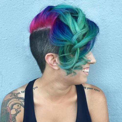 Blue Green And Red Undercut Hairstyle