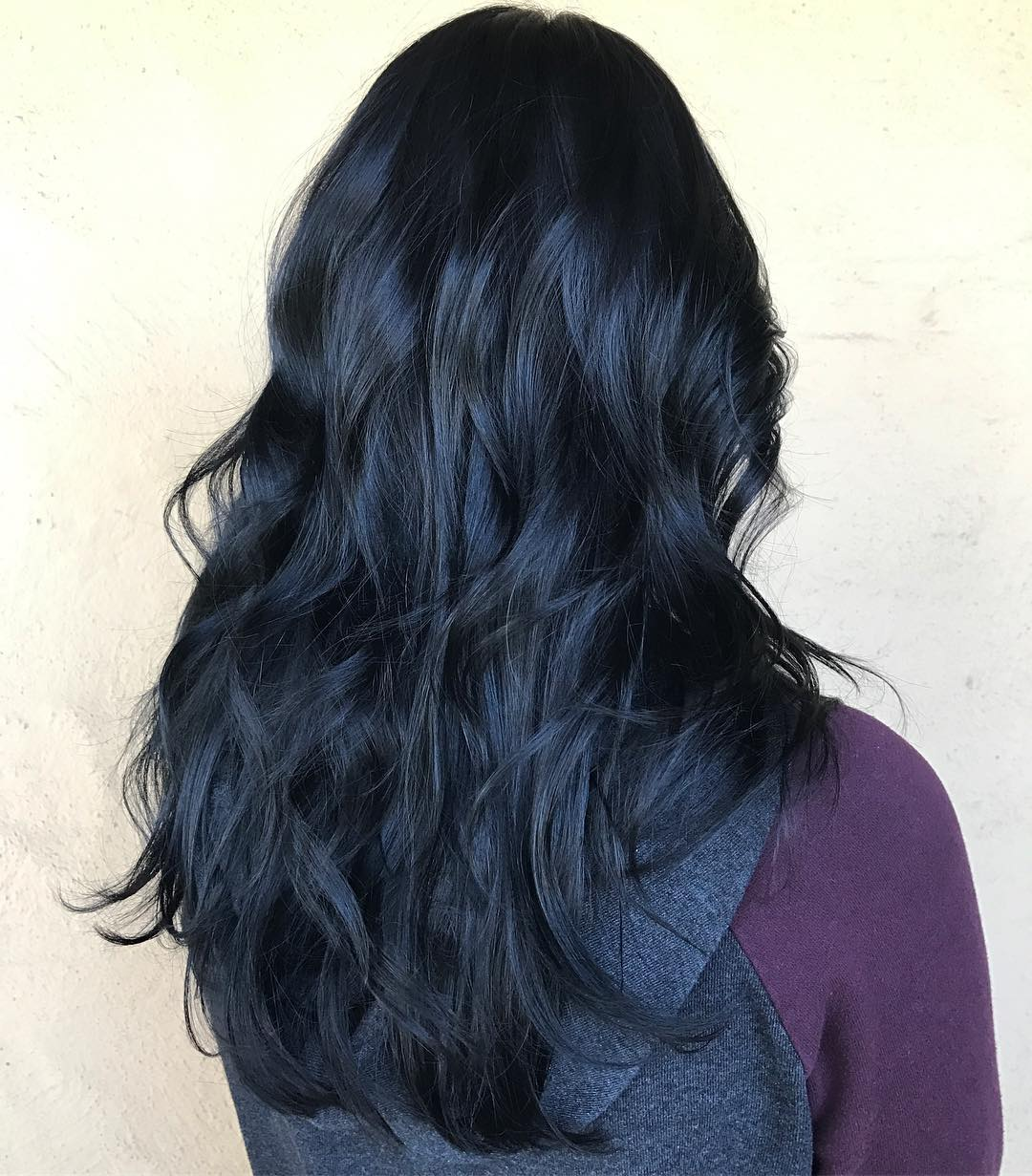 Blue Black Layered Hair