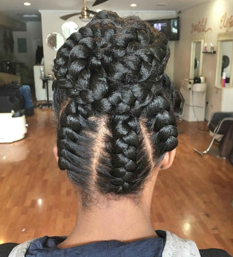 Under Braids In A Bun Updo