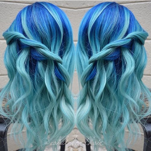 Cobalt Blue And Aquamarine Hair Color