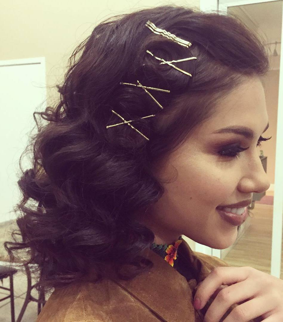 Curly Hairstyle With Crossed Bobby Pins