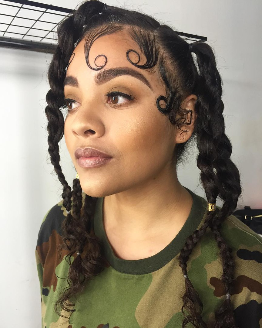Braids With Curled Baby Hairs
