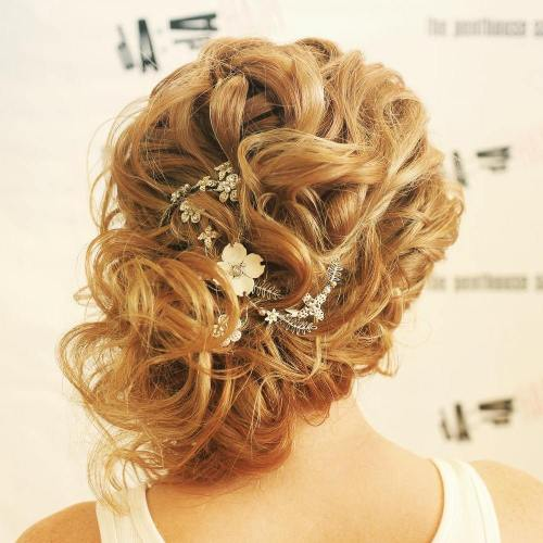 Messy Curly Side Updo