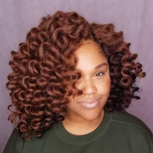 African American Curly Auburn Bob