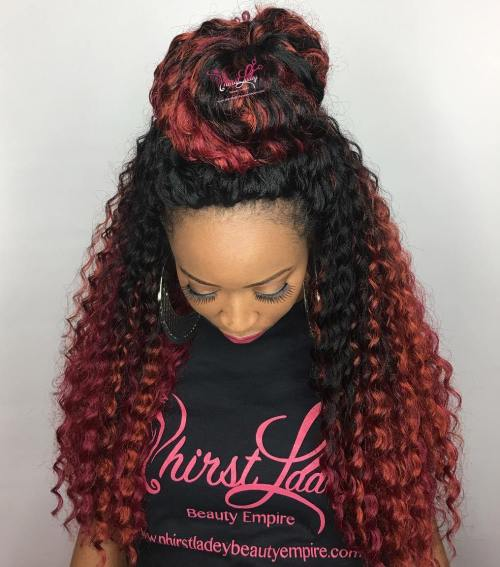 Half Updo For Long Crochet Braids