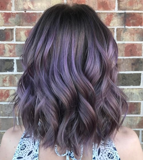 brown hair with pastel purple balayage