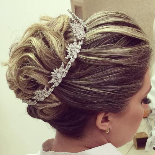 Medium Wedding Updo With A Crown