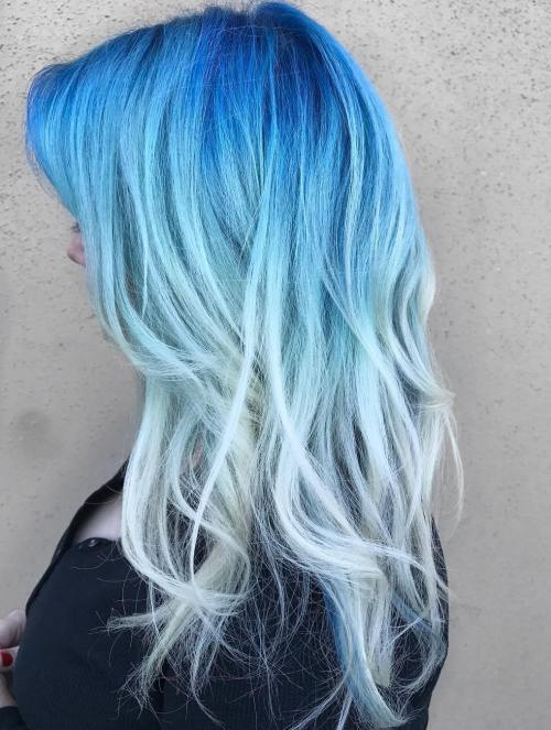 30 icy light blue hair color ideas for girls long blue and blonde hair urmus Choice Image