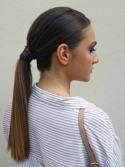 low sleek ponytail