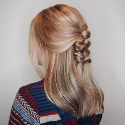 Braided Half Updo For Medium Hair