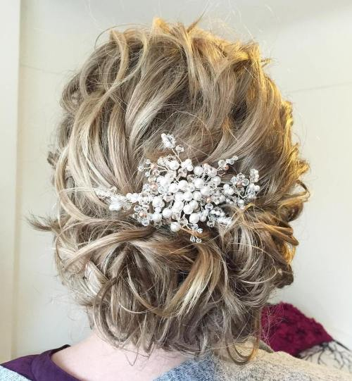 Top 20 wedding hairstyles for medium hair messy curly updo for medium hair pmusecretfo Images