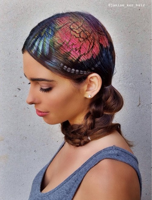 Floral Hair Stencil For Brown Hair