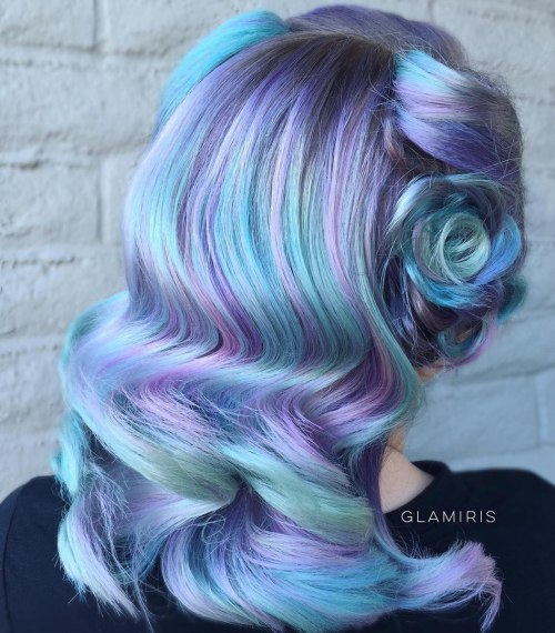 30 icy light blue hair color ideas for girls pastel blue hair with purple highlights pmusecretfo Images