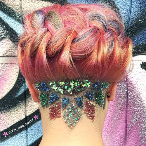 Nape Undercut With Glitter