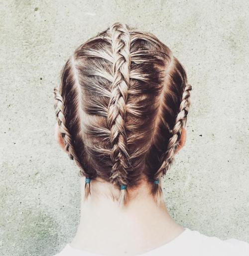 short workout style with braids