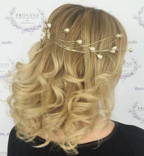 Wedding Mid Length Curly Blonde Hairstyle