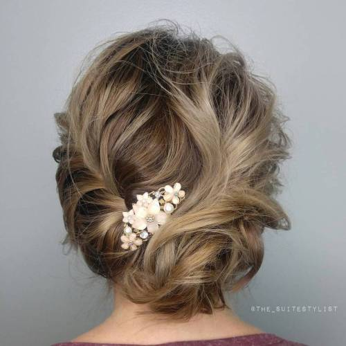 Top 20 wedding hairstyles for medium hair messy braided updo for fine hair pmusecretfo Choice Image