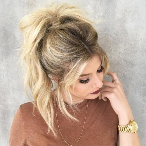Blonde Messy Ponytail With Bangs