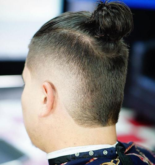 burst fade with bun