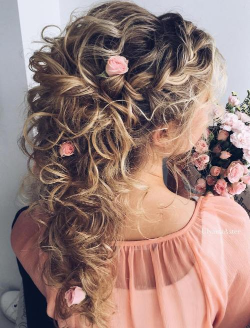 20 soft and sweet wedding hairstyles for curly hair 2018 wedding curly half updo with roses pmusecretfo Images
